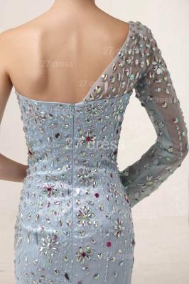 Elegant One Shoulder Tulle Prom Gowns Side Slit Crystal Evening Dress UKes UK_3