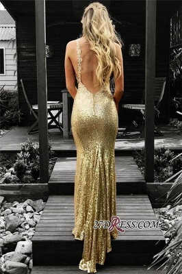 Gold Sequins Prom Dress UK | Mermaid V-Neck Evening Gowns On Sale_1