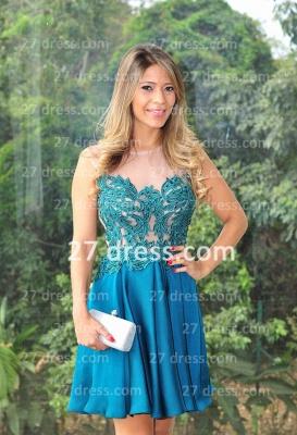 Vestidos Lindo Short Blue Prom Dress UK Sexy Cocktail Gowns Bateau Sleeveless Chiffon_4