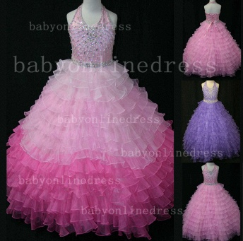 Beaded Ball Gown Dresses for Girls with Hot Sale Formal Gowns Teens Summer Layered Pageant Shops_1