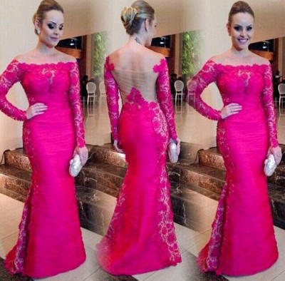 Newest Fuchsia Long Sleeve Mermaid Evening Dress UK Lace Off-the-shoulder_3