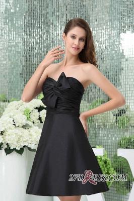 Bows Elegant Sleeveless Sweetheart A-Line Black Mini Bridesmaid Dress UKes UK_3