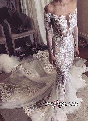 Sexy Mermaid Appliques Elegant Tulle Long-Sleeves Wedding Dress_3
