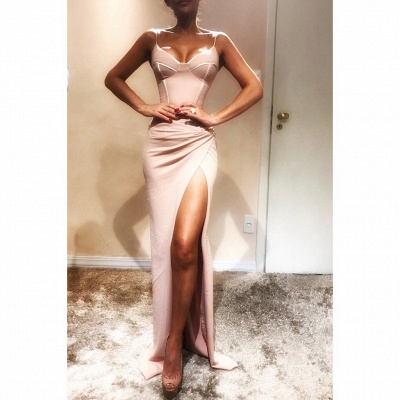 Elegant Spaghetti-Strap trumpt Prom Dress UK UKes | Sleeveless Side Slit Evening Gowns_3