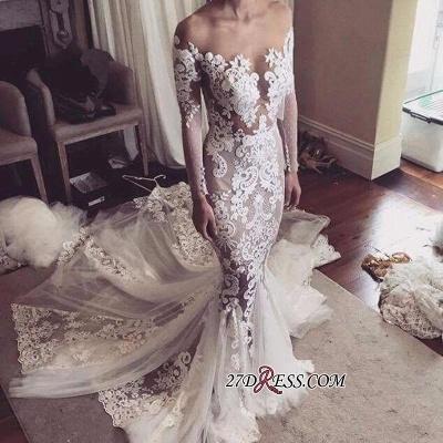 Sexy Mermaid Appliques Elegant Tulle Long-Sleeves Wedding Dress_1