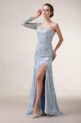 Elegant One Shoulder Tulle Prom Gowns Side Slit Crystal Evening Dress UKes UK_5