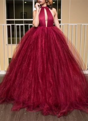 Luxury High-Neck Tulle Evening Dress UK Ball Gown Prom Dress UK_1