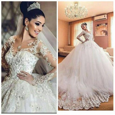 Delicate Lace Appliques Ball Gown Wedding Dress Long Sleeve Tulle_5