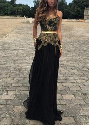 Elegant Sweetheart Gold Appliques Black Evening Dress UK Long On Sale_1