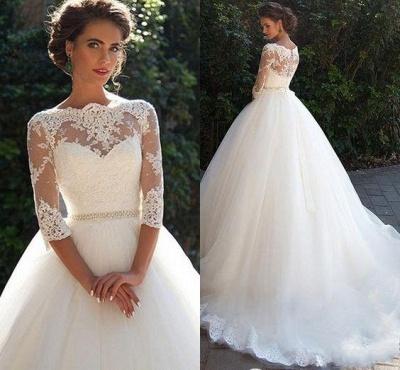 Half-Long-Sleeves Gown Lace Fall Elegant Ball Wedding Dresses UK BA3678_2