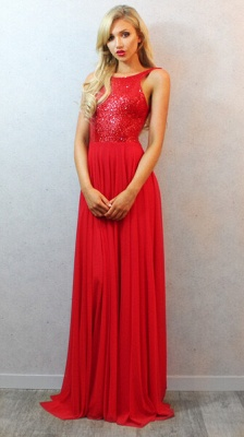 Sequins Long Red Chiffon Prom Dress UK with Elegant Backless Womens Evening Party Gowns_1