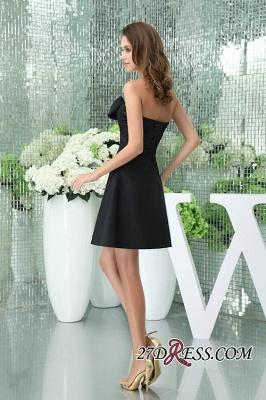 Bows Elegant Sleeveless Sweetheart A-Line Black Mini Bridesmaid Dress UKes UK_6