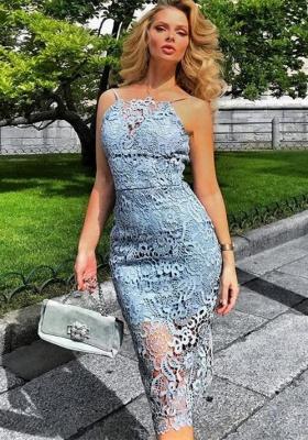 Luxury Lace Halter Short Prom Dress UK | Mermaid Lace Homecoming Dress UK BA9781_1