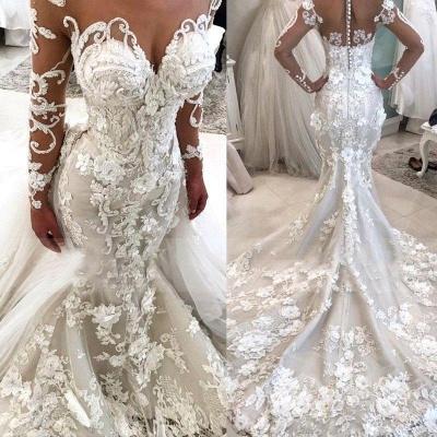 Elegant Long Sleeve 2019 Wedding Dress   Sexy Mermaid Zipper Bridal Gowns_3