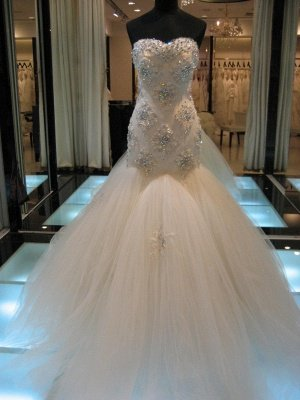 Gorgeous Sexy Mermaid Crystals Tulle Wedding Dress Long Train Sweetheart Sleeveless_1