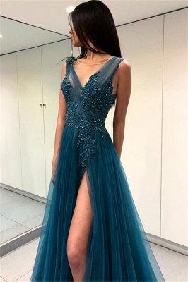Luxury Scoop Long Evening Dress UK   2019 Forml Dress UK With Slit On Sale_1