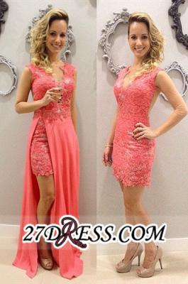 Short Lace Chffion Sexy V-neck Train Sleeveless Detachable Pink Evening Dress UKes UK BA3528_2