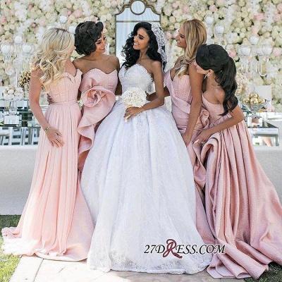 Luxury Pink Lace-Up Mermaid Bridesmaid Dress UK Long AH094_1