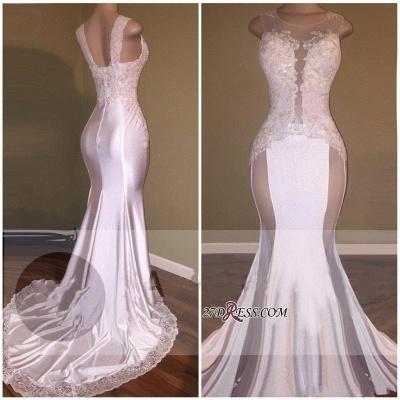 Sheer Lace White Beading Appliques Glossy Elegant Mermaid Prom Dress UKes UK_1