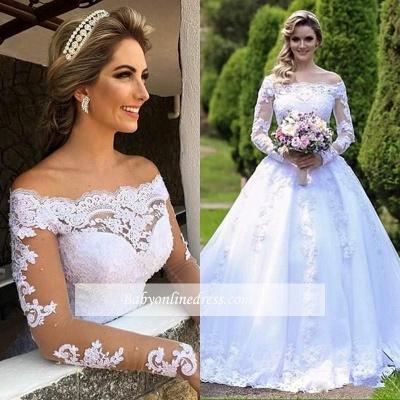 Lace Long-Sleeve Button Princess Zipper Wedding Dress_2