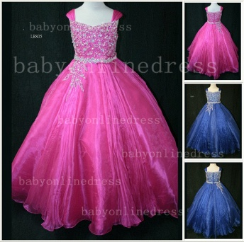 Flower Beaded Ball Gown Dresses for Girls Wholesale Beautiful Junior Pageant Organza Gowns for Sale_1