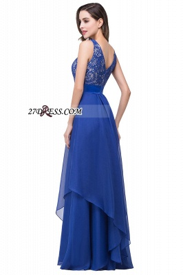 Delicate Chiffon Lace Royal Blue Prom Dress UK A-line Zipper Jewel_7