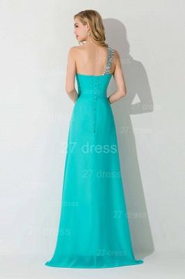 Modern One Shoulder Chiffon Evening Dress UK A-line Crystals Lace-up_3