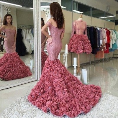 Gorgeous Off-the-shoulder Lace Prom Dress UKes UK Mermaid Ruffles Party Gowns_3