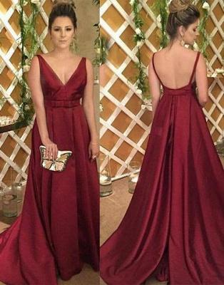 Backless V-Neck Burgundy Sleeveless Satin Evening Dress UK_1