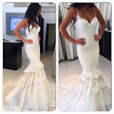 Delicate White  Sexy Mermaid Ruffles Wedding Dress | Lace Beads Bridal Gown_3