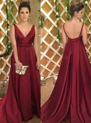 Backless V-Neck Burgundy Sleeveless Satin Evening Dress UK_2