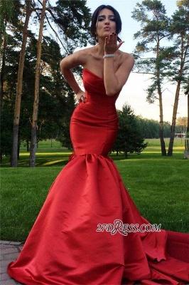 Mermaid Zipper Sweep-Train Sweetheart Red Elegant Evening Dress UK_2