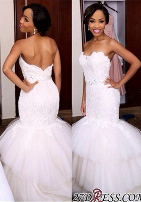 Tiered Tulle Sweetheart Appliques Newest Crystal Sexy Mermaid Wedding Dress_2
