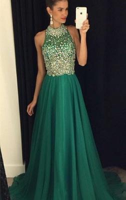 Luxury Crystals Halter Sleeveless Prom Dress UK A-line Sweep Train AP0_2