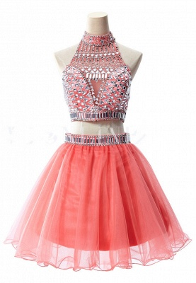 Gorgeous Halter Sleeveless Short Homecoming Dress UK With Crystals_11