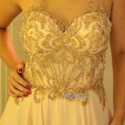 Long chiffon prom Dress UK, evening Dress UK with beads_1