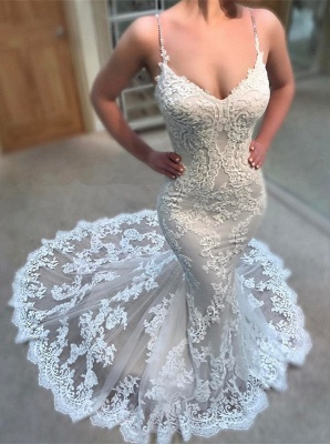 Gorgeous V-Neck Lace Wedding Dress | 2019 Sexy Mermaid Spaghetti-Straps Bridal Gown_1