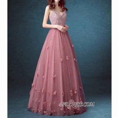 Beaded Long Lace Sleeveless A-line Floral-Appliques Prom Dress UKes UK_3