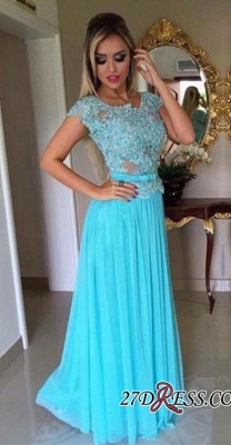 Appliques Chiffon Scoop Short-Sleeves A-Line Prom Dress UK_2