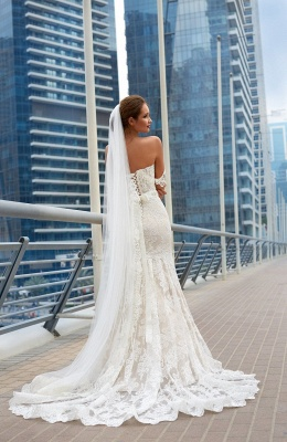Elegant Off-the-Shoulder Wedding Dress Sweetheart With Lace Sexy Mermaid Bridal Gowns_3