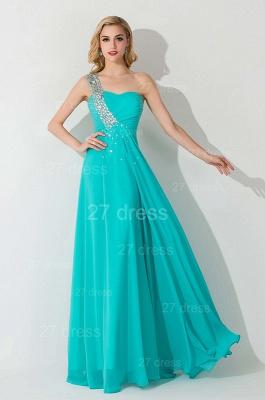 Modern One Shoulder Chiffon Evening Dress UK A-line Crystals Lace-up_4
