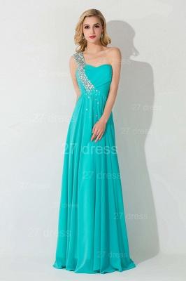 Modern One Shoulder Chiffon Evening Dress UK A-line Crystals Lace-up_1