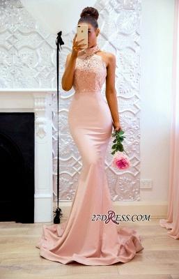 Halter Sexy Lace Mermaid Applique Sweep Train Prom Dress UK BA7727_1