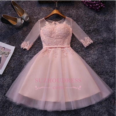Appliques Short Half-Sleeves Tulle Pink Homecoming Dress UKes UK_1