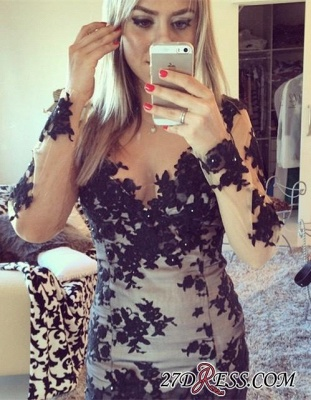 Mini Long-Sleeve Elegant Bodycon Lace-Appliques Homecoming Dress UK BA7900_2
