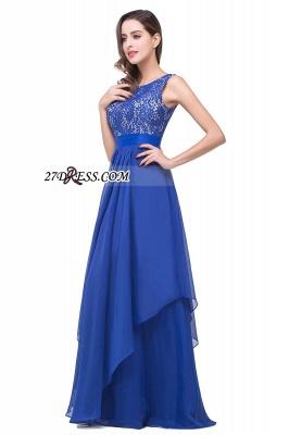 Delicate Chiffon Lace Royal Blue Prom Dress UK A-line Zipper Jewel_6