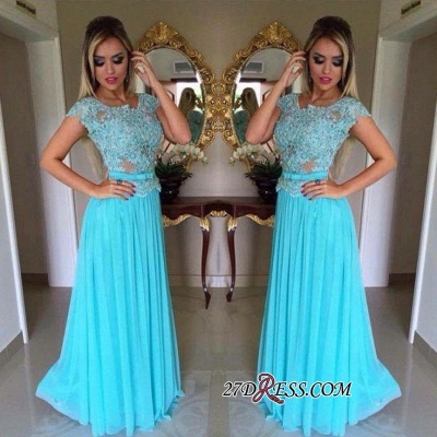 Appliques Chiffon Scoop Short-Sleeves A-Line Prom Dress UK_1