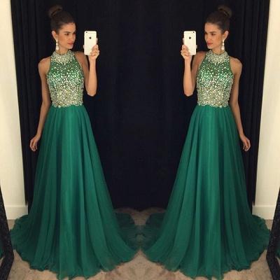 Luxury Crystals Halter Sleeveless Prom Dress UK A-line Sweep Train AP0_3
