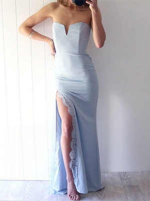 Sexy Sweetheart Mermaid prom Dress UK Front Split Floor Length With Lace_1