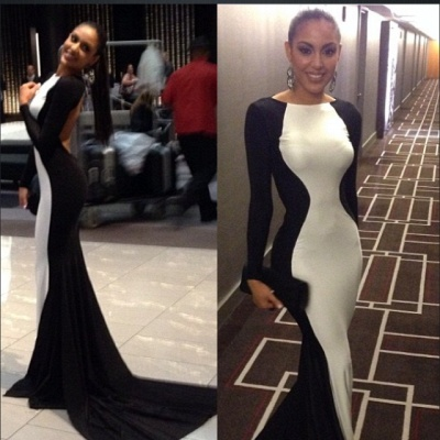 New Elegant White and Black Prom gown Long Sleeves Womens Evening Party Dress UKes UK_2